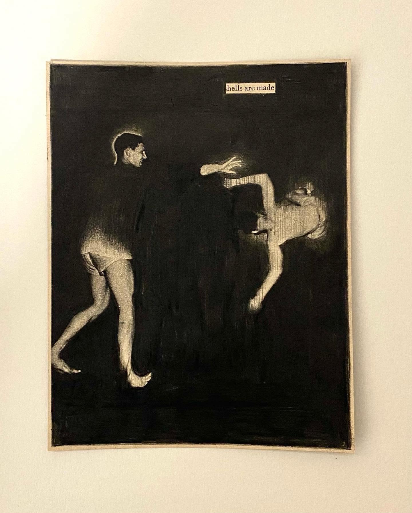 Black Pages Hells are made - 2021  Aquarelpotlood op magazine 8 x 11 cm   framed 650 € Interesse? Contacteer ons