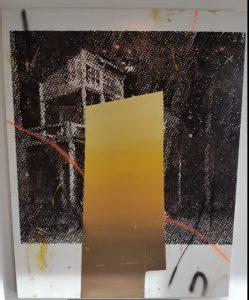 Cabin #1 - 2015 - olieverf, spuitverf, acryl op doek  114 x 145 cm Interesse? Contacteer ons