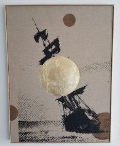 Cercle Bruges - 2017 - acryl, bladgoud op onbehandeld linnen  60,5 x 80,5 cm Interesse? Contacteer ons