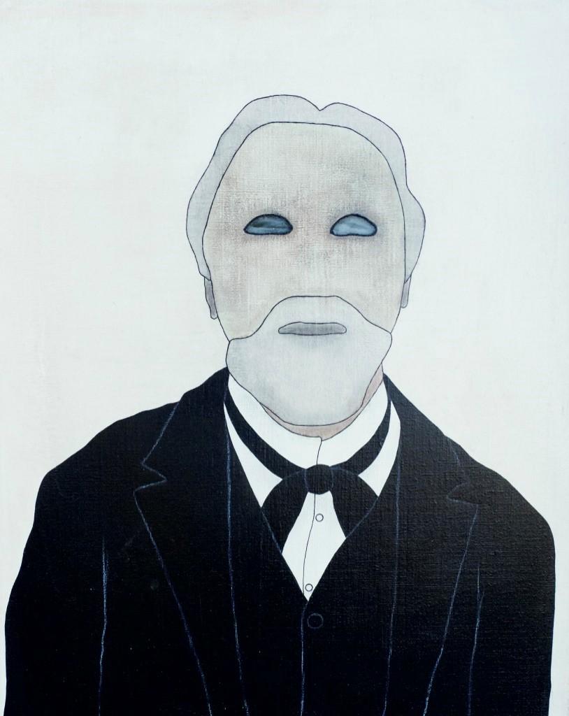 James Ensor Historicals - 2019  acryl/ inkt/pigment/potlood/fotoprint/glas op canvas 50 x 40 cm Interesse? Contacteer ons