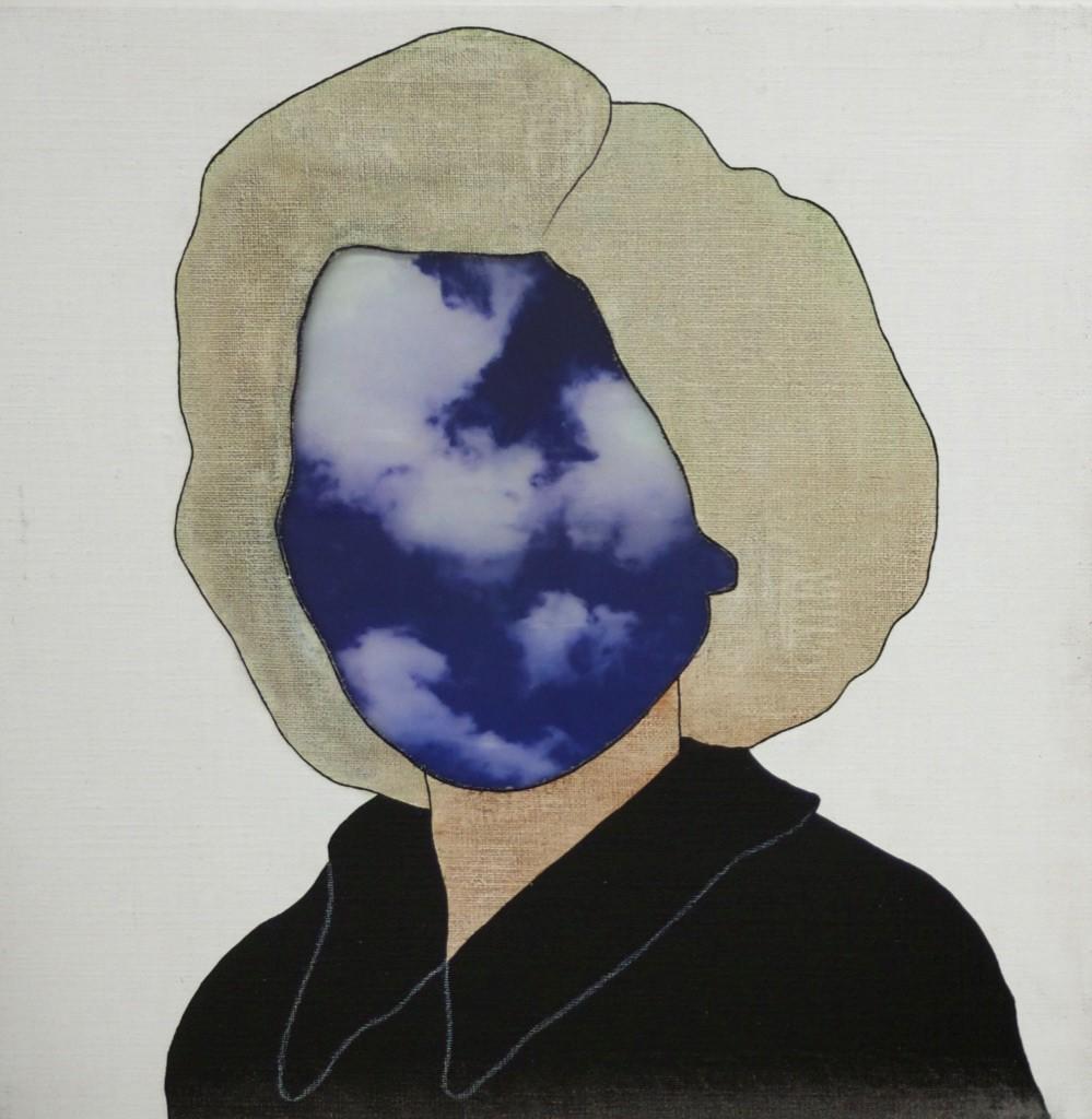 Joanna Historicals - 2018  acryl/ inkt/pigment/potlood/fotoprint/glas op canvas 40 x 40 cm Interesse? Contacteer ons