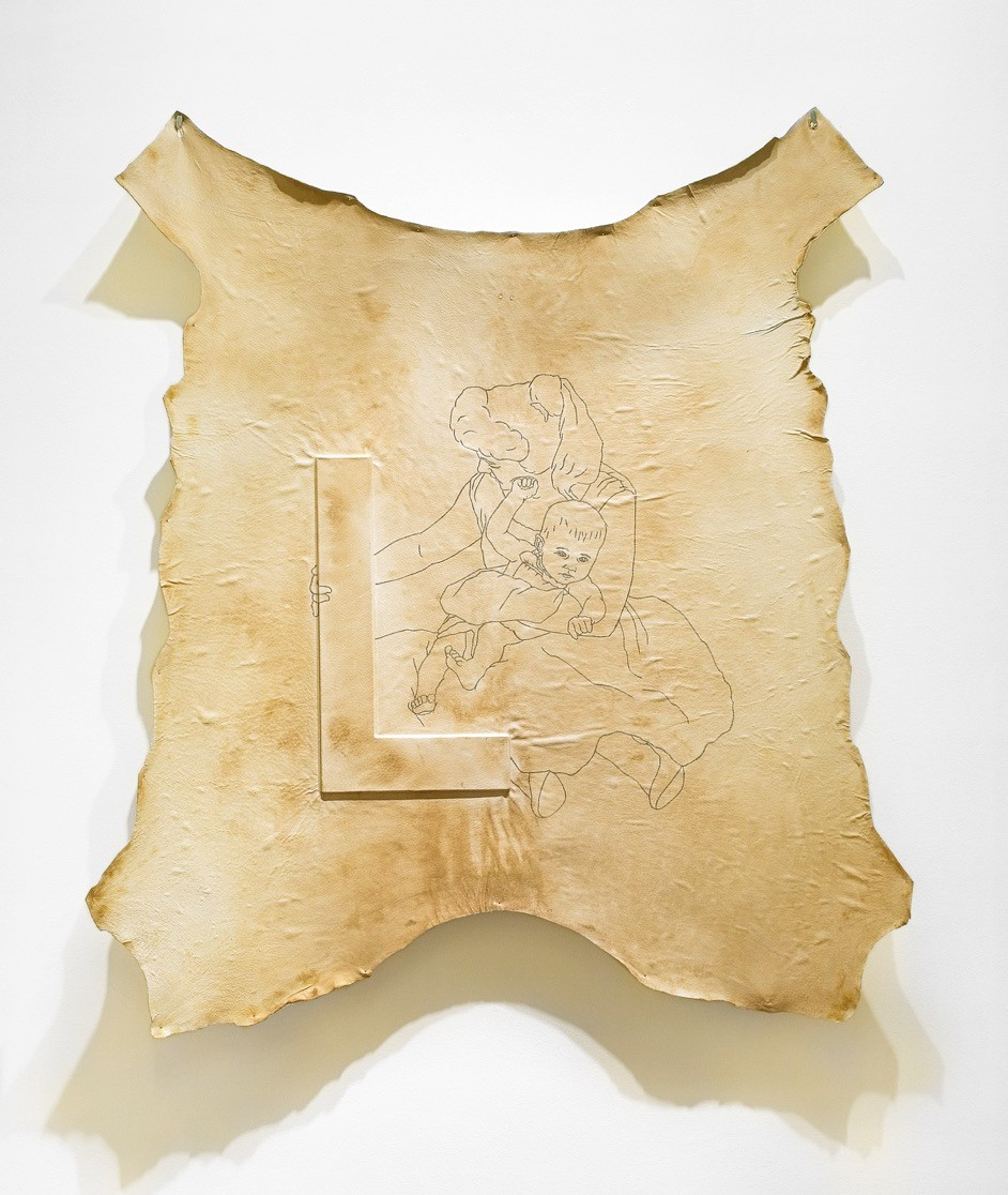 Leather Wall Carpet L - 2006  Leather embossing and pencil drawing110 x 123 cm  Interesse? Contacteer ons