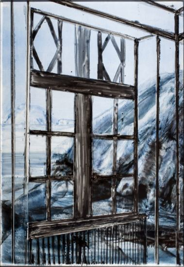 Pyramiden in A Villa  VI- 2014  emaille burnt on glass  34 x 23.5 cm