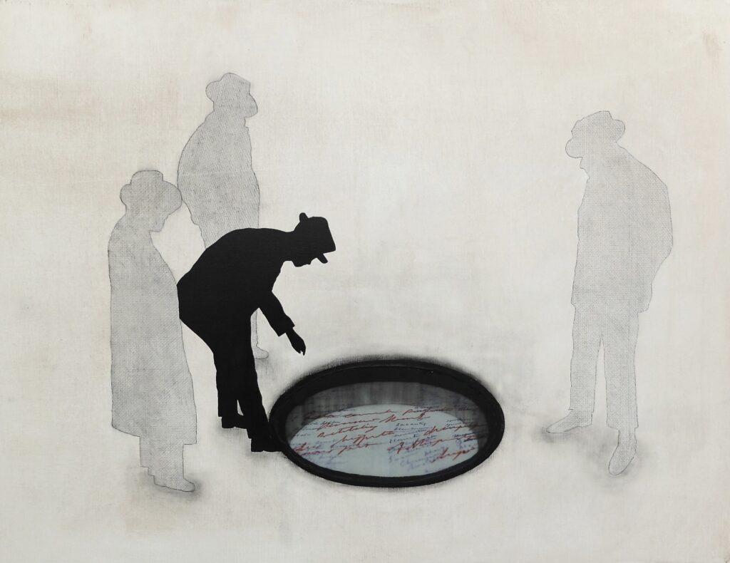 Surfacing hesitation 100x130cm Acryl_chinese inkt_pigment_potlood_copie van brief van Trees_glas op canvas 2020