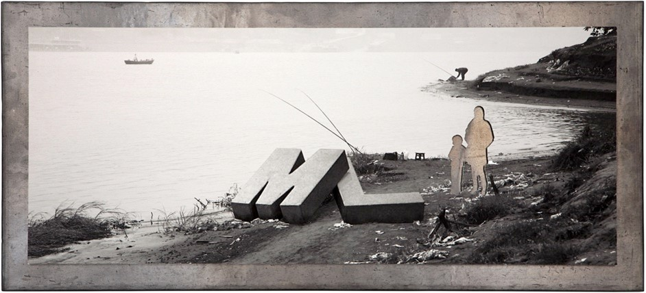 This Side of the River I - 2012  Glicée print, lead plate, wooden board Ed 2 + 1 AP 64 x 29 cm  Interesse? Contacteer ons