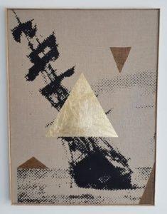 Triangle Bruges - 2017 - acryl, bladgoud op onbehandeld linnen  60,5 x 80,5 cm Interesse? Contacteer ons