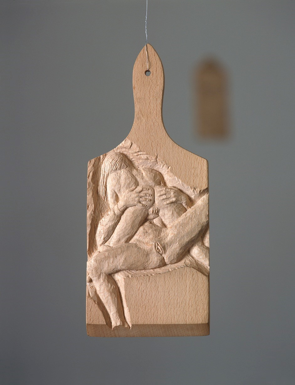 Untitled, carved cutting board (Nr 21) - 1997  wood carving10 x 28 cm  Interesse? Contacteer ons