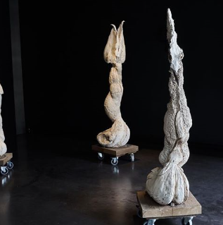 'Garden of Transgression', 2015 Plaster of Paris, wood, wheels Dimensions variable