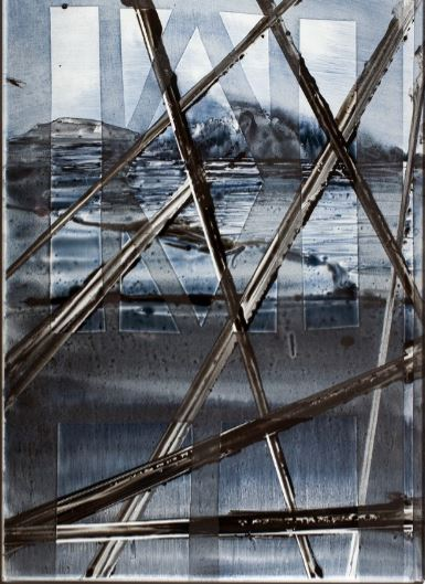 Pyramiden in A Villa  I- 2014  emaille burnt on glass  34 x 23.5 cm